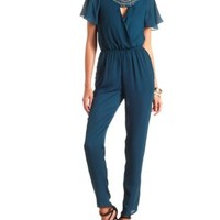 Beaded Bib Plunging Surplice Jumpsuit