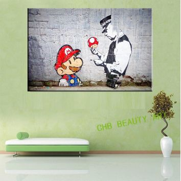Canvas Painting Printed Banksy Graffiti Art Mario And The Cop Original Poster Pop Art Decorative Pictures Unframed