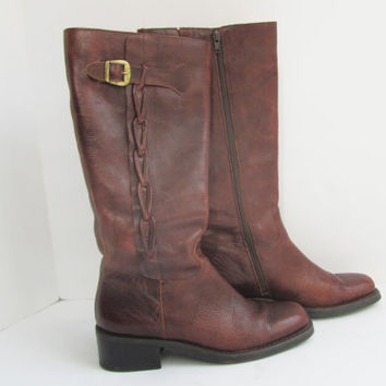 Vintage Brown Leather Knee High Boots Ladies 7.5