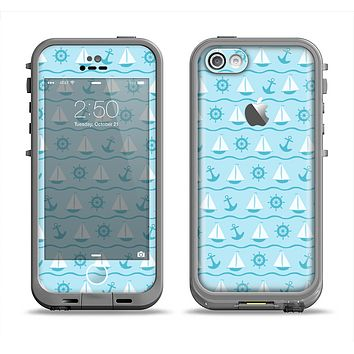 The Subtle Nautical Sailing Pattern Apple iPhone 5c LifeProof Fre Case Skin Set