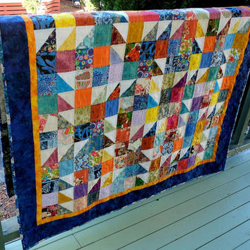Patchwork Quilt, colourful patchwork scrappy quilt, lap quilt, single bed topper, throw quilt