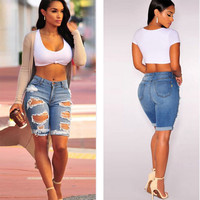 Summer Style Hole Punk Rock Fashion High Waisted Denim Shorts Vintage Ripped Short Jeans Sexy Womens Short Femme