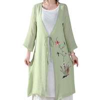 Green Vintage Floral Print Layered Cardigan Dress