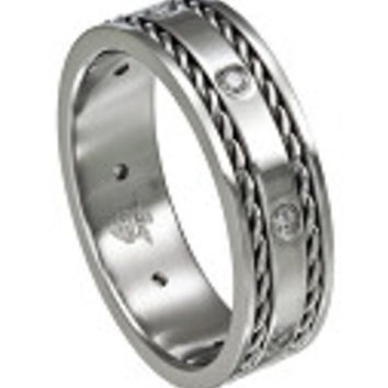 Men's Diamond and Woven Stainless Steel Wedding band