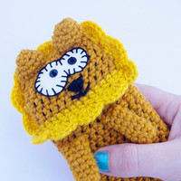LION iPhone case PLUSH ANIMAL iPhone 4s Cover crochet wool Kawai