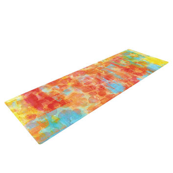 "Ebi Emporium ""Pastel Jungle"" Orange Red Yoga Mat"