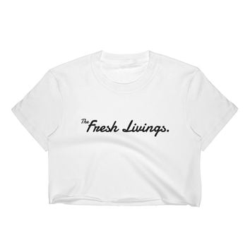 "Women's the Fresh Livings ""Signature"" Crop Top (Black Lettering)"