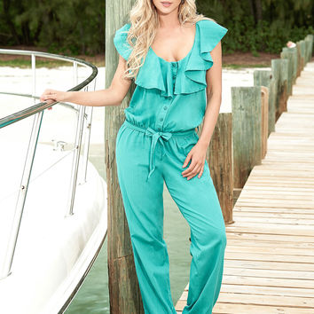 Summer Teal Jumpsuit Great for Resort Wear