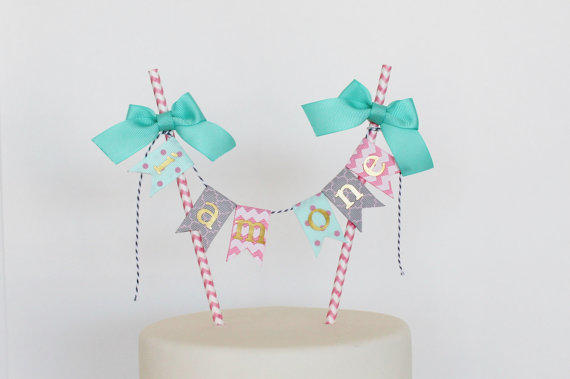 Girl Fist Birthday Cake Topper Pink Chevron Aqua Gray Quatrefoil I Am One