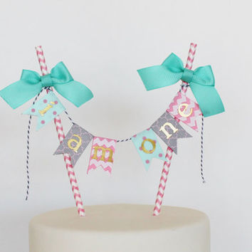 Girl Fist Birthday Cake Topper Pink Chevron,  Aqua Gray Quatrefoil, I Am One Cake Bunting, Smash Cake Topper - Personalized