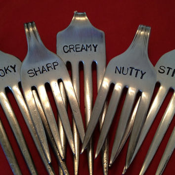 recycled silverware....Repurposed Vintage Silver-Plate Fork Cheese Markers set of 5