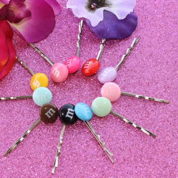 Yum Easter Candy Coated  Letter M   Resin Hair Clips , Lolita, Kawaii, Scene , Birthday, Easter Basket, By: Tranquilityy