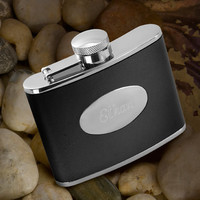 Personalized Stainless Steel Leather Flask - Personalized Black Leather Flask - Engraved Flask - Groomsmen Flask - Gifts for Him