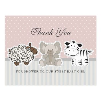 Baby Animals for Baby Shower | Thank You Postcard