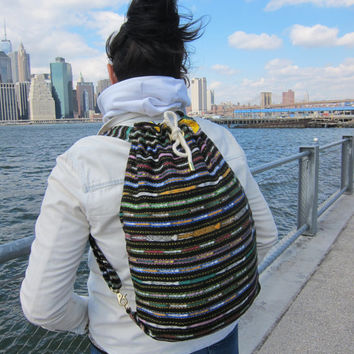 SALE - Guate Drawstring Convertible Backpack - Black Multi