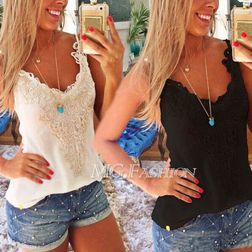 New Lady Summer Lace Stitching Bodycon T-Shirt Tank Tops Vest Blouse Plus S-5XL = 6092515139