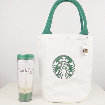 Natural Canvas Tote Bag - Starbucks printed