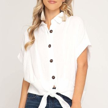 Women's Half Sleeve Button Down Top with Front Tie