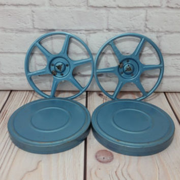 "Vintage 5"" 8mm Film Reels and Canisters Blue Metal Set of 2"