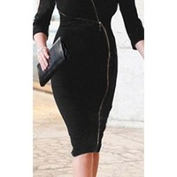 Black V Neck Sexy Long Sleeve Asymmetrical Zipper Bodycon Midi Dress