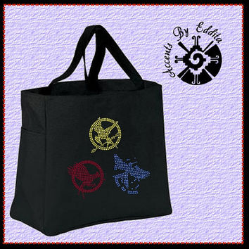 The ORIGINAL Hunger Games Inspired  Catching Fire Mockingjay Sturdy Rhinestone Tote Bag (your choice of color) perfect for all Fans