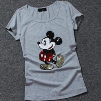 Mickey Mouse New Fashion Summer sequins print women short sleeve T-shirt top Gray