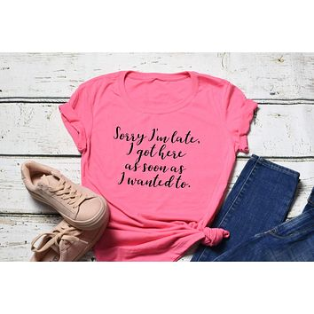 Fun Graphic Tee By Pink Box - SORRY I AM LATE