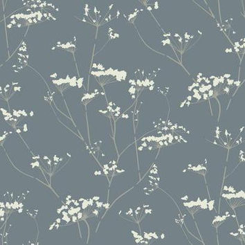 Sample of Enchanted Wallpaper in Metallic Blue design by York Wallcoverings