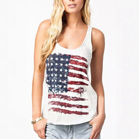 White American Flag Print Graphic Tank Top