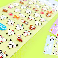 Buy Kawaii Lucky Animal Sponge Stickers - Pandas at Tofu Cute