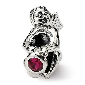 Sterling Silver July CZ Birthstone, Angel Bead Charm