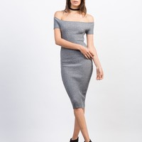 Rib Knit Off-the-Shoulder Midi Dress