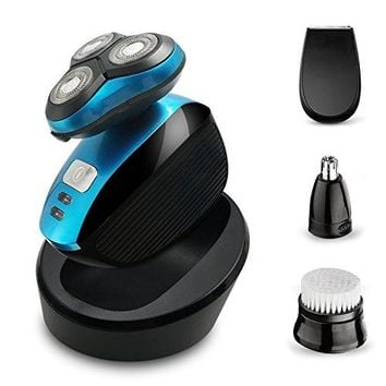 Electric Shaver Razor for Men Perzcare IPX7 Waterproof 4 in 1 Beard Trimmer Wet & Dry Wireless Rotary Shaver Cordless Hair Trimmer Nose Hair Trimmer...