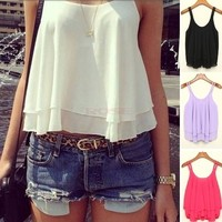 New Women Casual Shirts Sleeveless Strap Sexy Chiffon Blouses Crop Top Tank Tops SV003446 = 5613056769