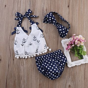 So Sweet!! 3Pc Summer Outfit, Polka Dot Bloomers And Anchor Print Sleeveless Top With Matching Headband. Sizes 0 To 24 Months