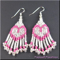 Handmade Earrings Beadwork Dangle Seed Beaded Hearts in Pink and White