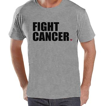 Men's Fight Cancer Shirt - Cancer Awareness T-Shirt - Grey T Shirt - Team Race Running Shirt - Fight Cancer TShirt - Adult Race Day Tee