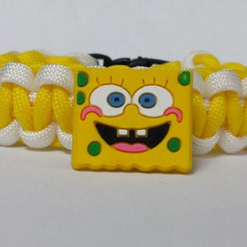 Spongbob Bracelet, Sponge Bob Square Pants Bracelet, Spongebob Jewelry, Yellow and White Bracelet, Custom Bracelet. 26 Colors to choose