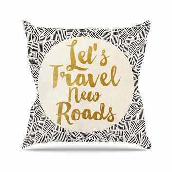 "Pom Graphic Design ""Let's Travel New Roads"" Gold Black Outdoor Throw Pillow"