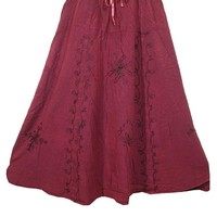 Womens Maxi Skirt Stonewashed Embroidered Long Hippie Boho Peasant Skirts: Amazon.ca: Clothing & Accessories