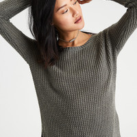 AE Lace-Up-Back Waffle Knit Sweater, Olive