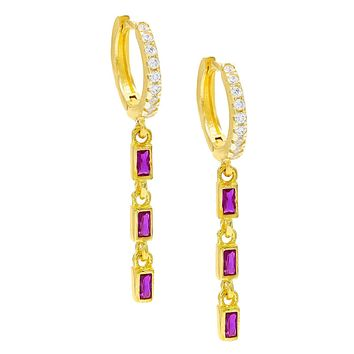 Unique In Style Trendy Earrings Dainty Dangle Pink Topaz Baugette Drop Earring Embellished with Swarovski Crystals in 18K Gold Plated
