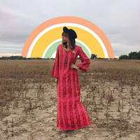 Vintage 1970's INDIAN Hot Pink Dupioni Raw Silk Maxi Gypsy Boho Dress With Bell Sleeves || Size S to M