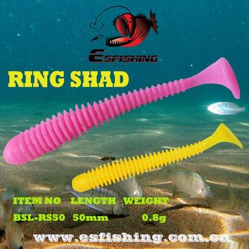 """Fishing lures Soft Bait Smell 12pcs 5cm/0.8g Esfishing RING SHAD 2"""" Iscas Artificiais Carp Fishing Tackles Spinner Bait"""