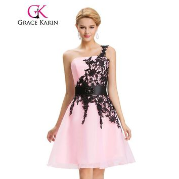 Grace Karin Prom Dress Embroidery Ball Gown White Pink Yellow Short Prom Gowns One Shoulder Special Occasion Dress Abendkleider