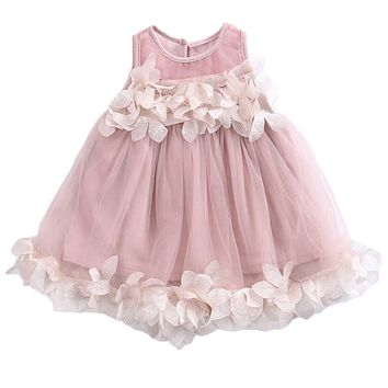 Girls Prom Dress Baby Lace Floral Princess Dress Children Sleeveless Tulle Formal Petal Bridesmaid Wedding Gown Carnival Costume