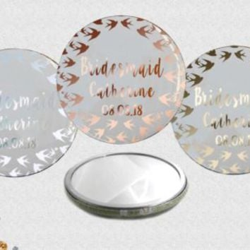 Personalised SWALLOW Rose Gold Foil POCKET MIRROR 58mm Wedding/Hen Favour/Gift | eBay