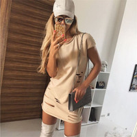 Women's Trending Popular Fashion Everyday Wear Package Hip Solid Casual Party Playsuit Clubwear Bodycon Boho Dress _ 8658