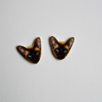 Siamese Cat Post Stud Earrings Novelty Gift