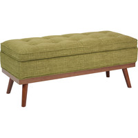 Katheryn Storage Bench with Light Espresso Legs, Green Fabric